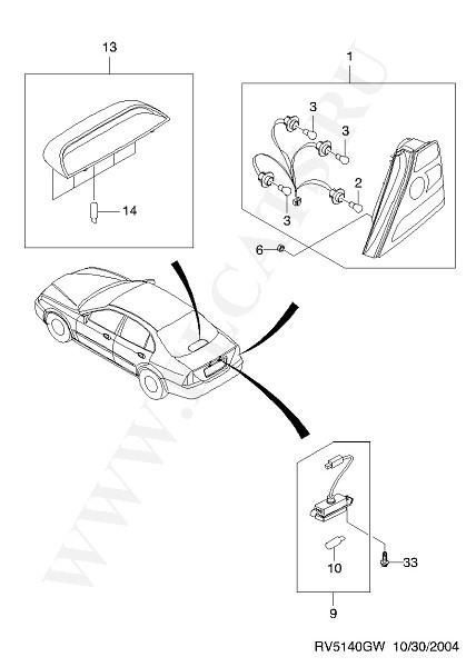 ФОНАРЬ (ЭЛЕКТРООБОРУДОВАНИЕ) часть 8. EPICA (V200).  Каталог запчастей Chevrolet.