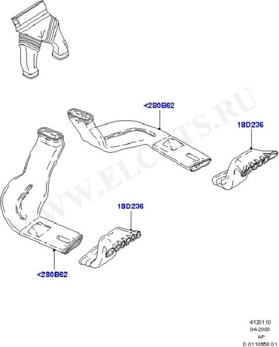Air Vents, Ducts & Louvres - Rear (Вентилятор обогрева,решетки и воздуховоды)