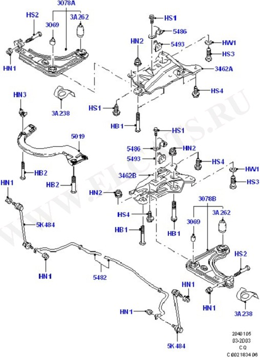 Front Susp.Arms/Stabilizer/X-Member (Front X Member / Knuckle & Hub)