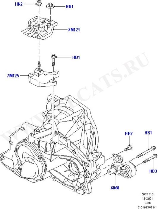 Опоры двигателя и коробки передач.