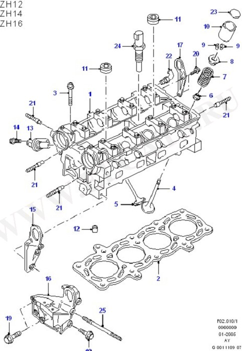 Cylinder Head/Valves/Rocker Cover (Zetec S)