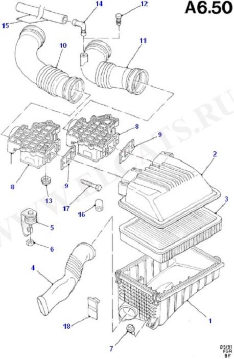 Engine Air Intake/Emission Control (Taunus V6 2.0, 2.3, 2.8)