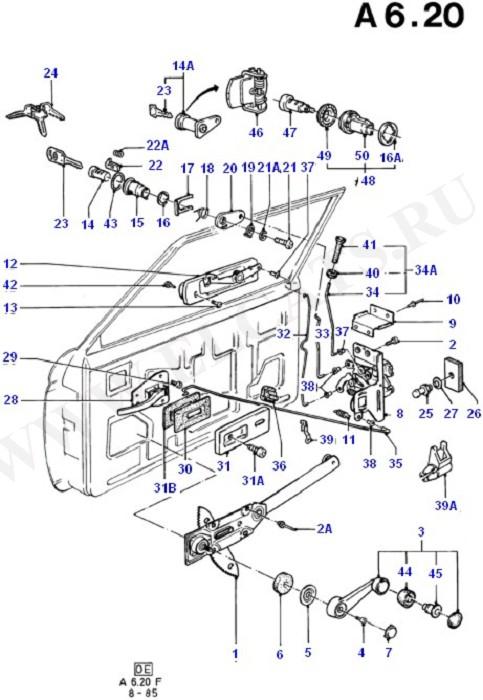 Ford Fiesta 1976-1989 (AX) Кузов и сопутствующие элементы Передн.двери и сопутств. эл-ты.