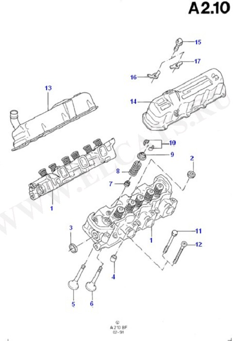 Cylinder Head/Valves/Rocker Cover (Taunus V6 2.0, 2.3, 2.8)