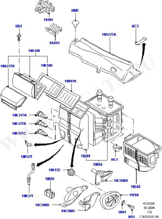 Heater/Air Cond.External Components (Система обогрева и кондиционер)