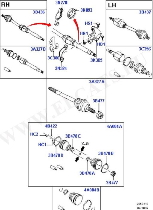 Drive Shaft - Front Axle Drive (Приводные валы - передний мост)