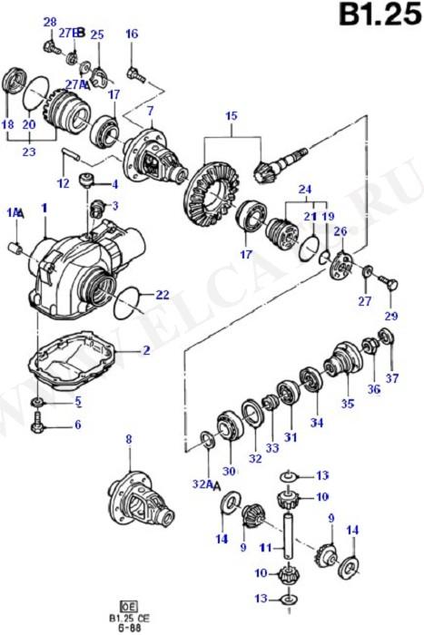 Components - Front Axle Diff & Carr (Передний мост / Подвеска / Приводные валы)