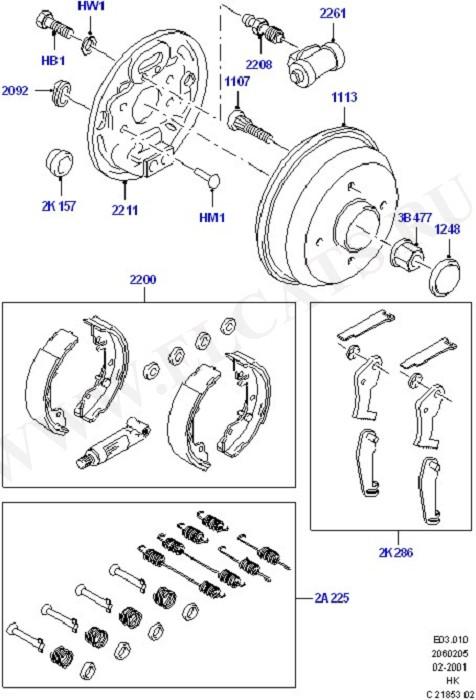 Rear Drum Brakes (Передние и задние тормозные барабаны)