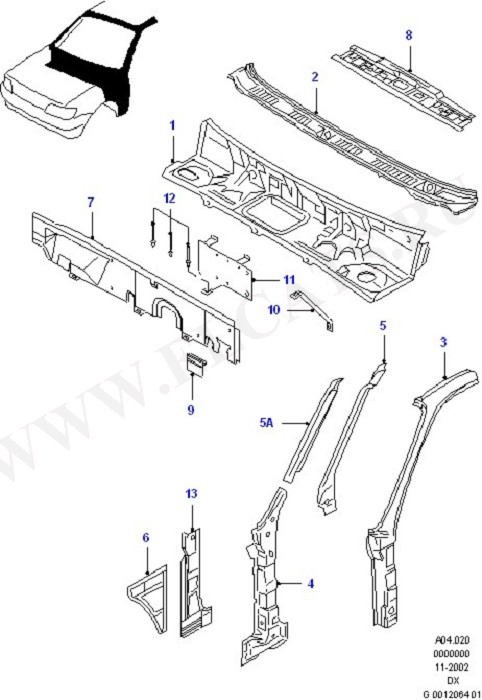"""Cowl Top/ """"A"""" Pillars/Related Parts (Dash Panel/Apron/Heater/Windscreen)"""