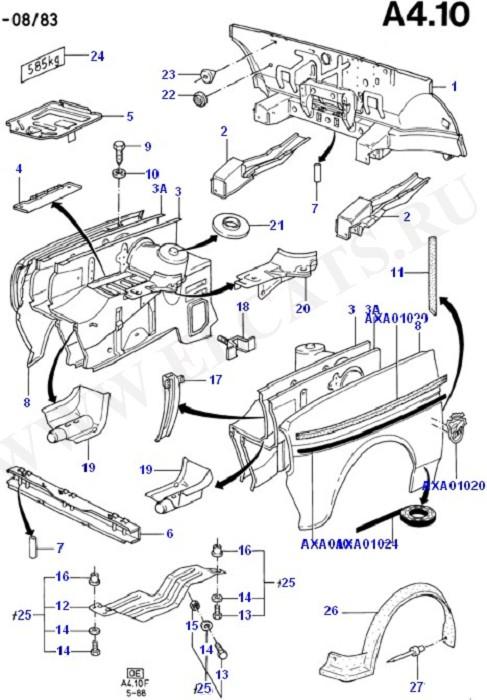 Dash Panel/Aprons/Front Fenders (Dash Panel/Apron/Heater/Windscreen)