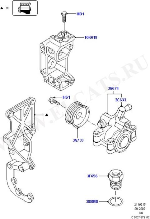 Power Steering Pump Mounting (Рулевой механизм, шланги и насос)