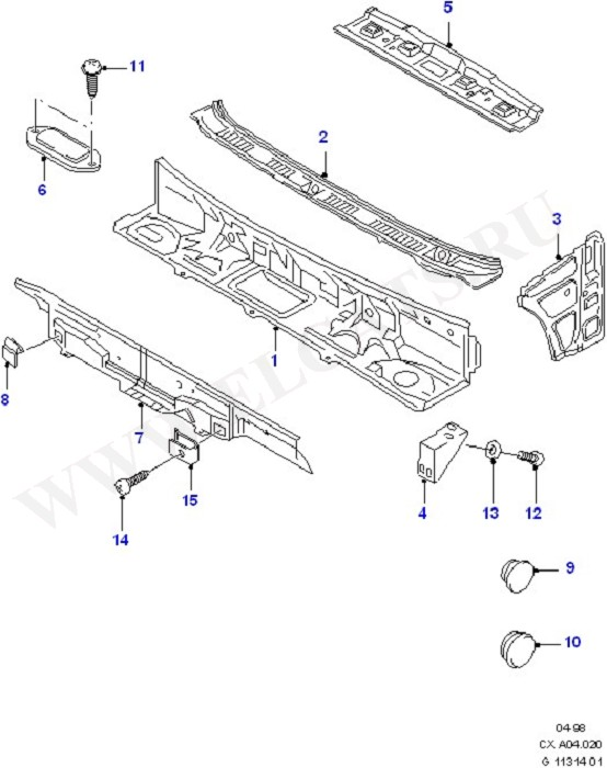 Cowl/Panel And Related Parts (Dash Panel/Apron/Heater/Windscreen)
