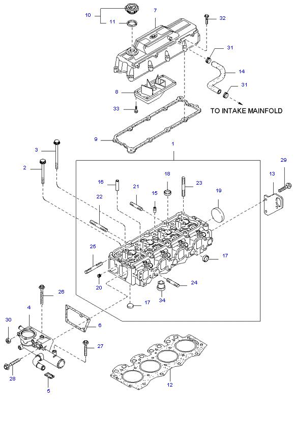 головка цилиндров и крышка ( 2.7L )