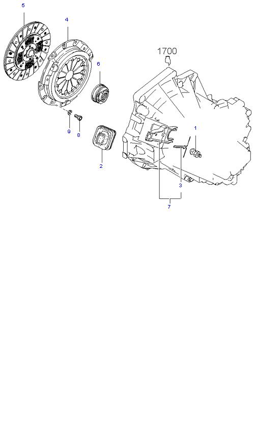 Ведомый диск и механизм сцепления ( 1.6L 5MT 2WD )
