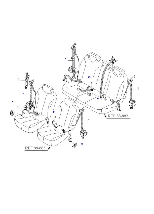 REAR SEAT BELT ( WAGON SHORT(7) )