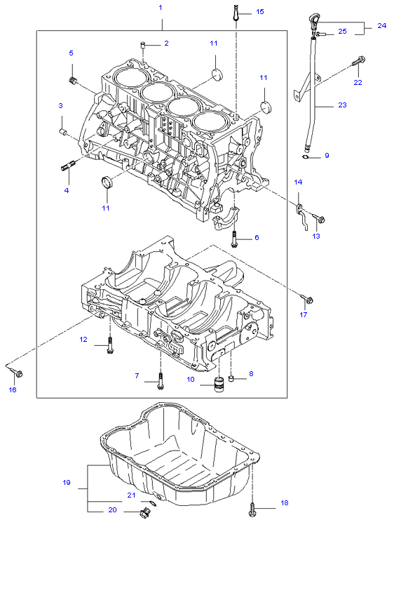 CYLINDER BLOCK & OIL PAN ( 2.0L )