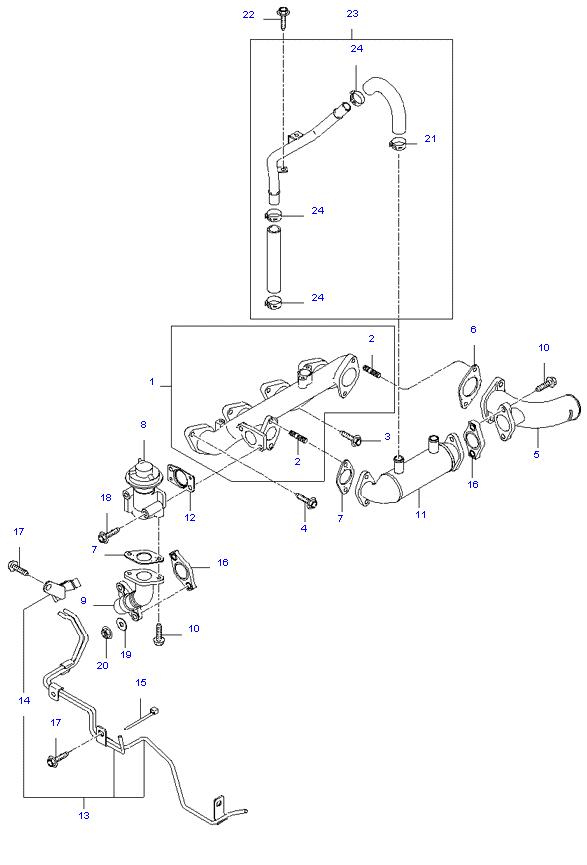 выпускной коллектор двигателя ( D4BH )