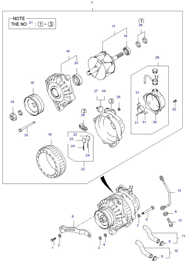 генератор в сборе ( D4BH )