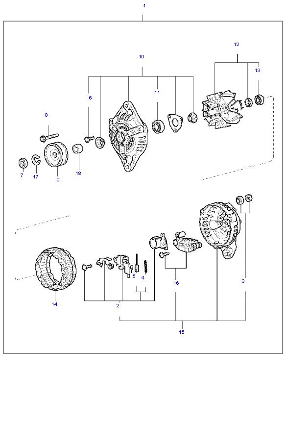 генератор в сборе ( 1.3L )