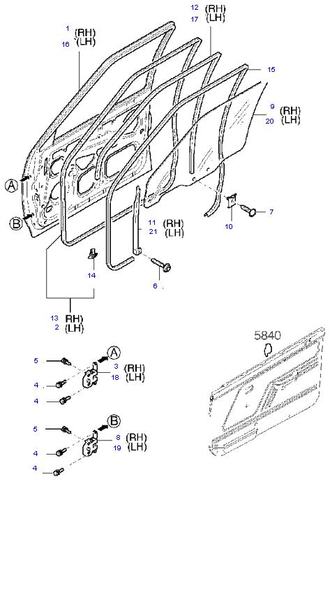 дверь передняя(кузов и стекло) ( 3DOOR SEDAN )