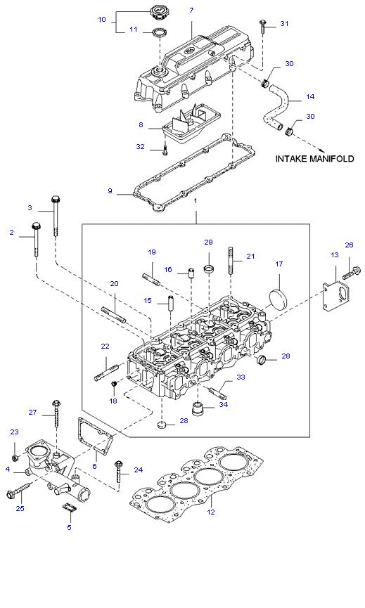 головка цилиндров и крышка ( 3.0L )