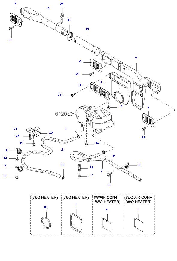 Боковой  отопитель ( WAGON E/LONG(15) 3.0L )