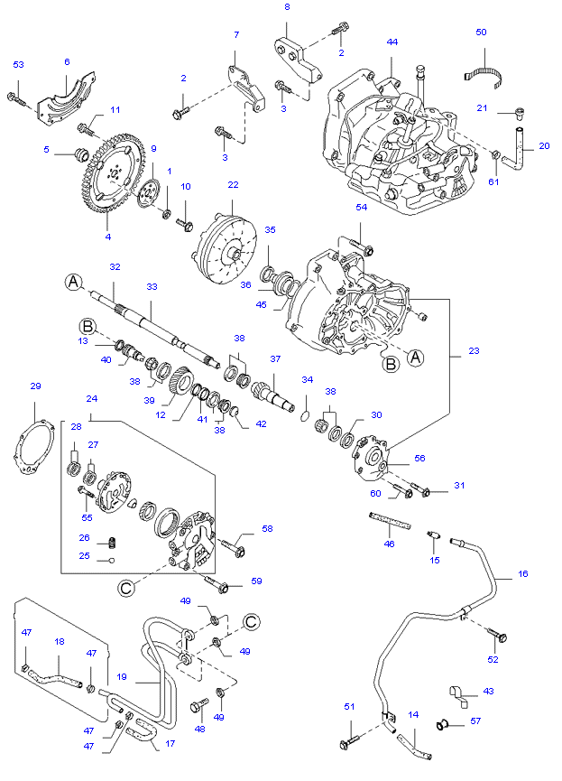 Гидротрансф.крут.мом.масл.насос и трубопров. ( 1.3L 3AT 2WD )