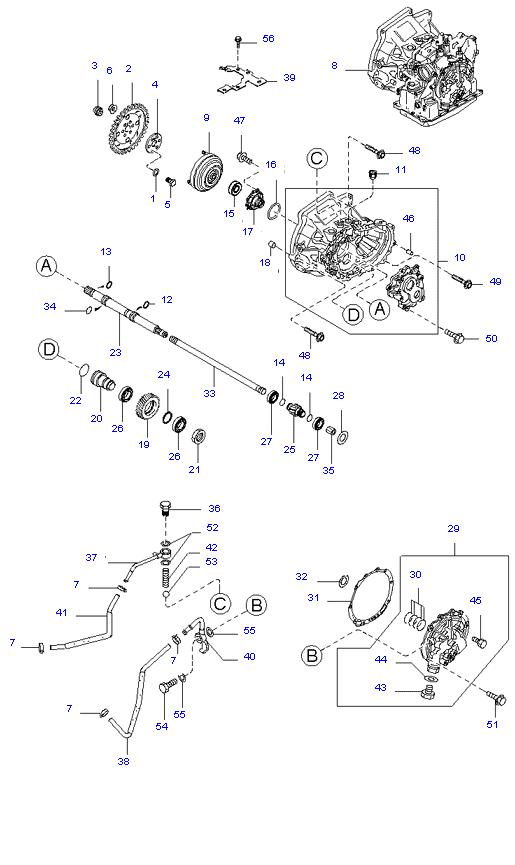 Гидротрансф.крут.мом.масл.насос и трубопров. ( 1.3L 4AT 2WD )