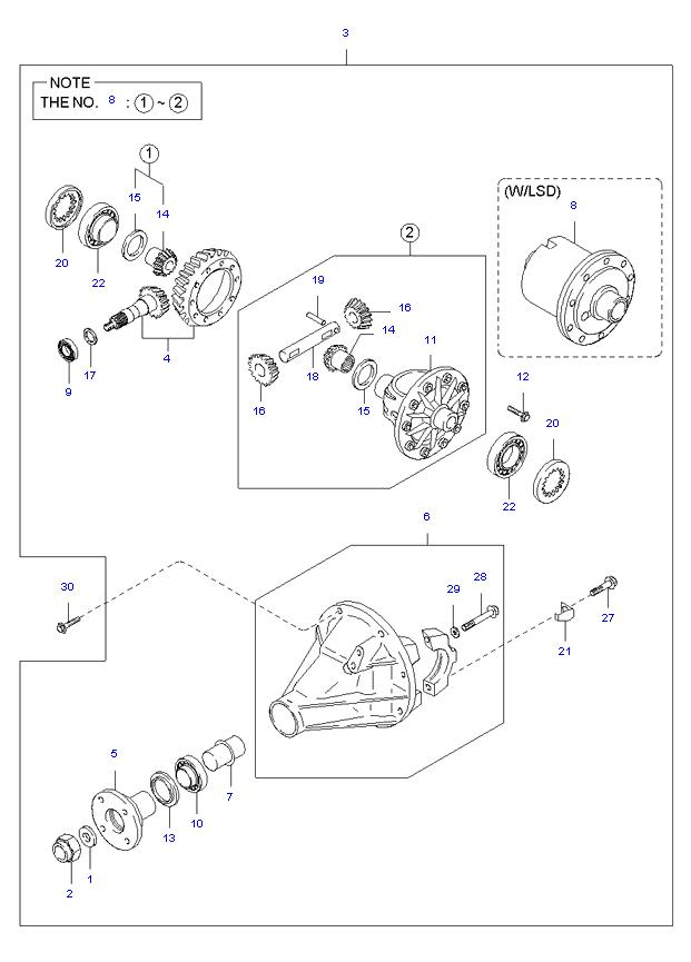 дифференциал ( 1TON E/L SUPER CAB 5MT 2WD )