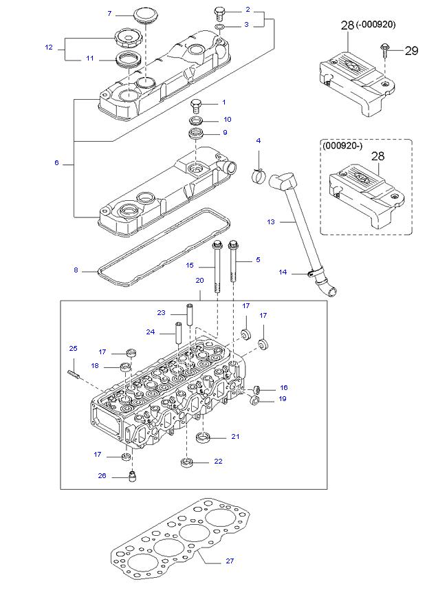 головка цилиндров и крышка ( D4AL(117PS) )