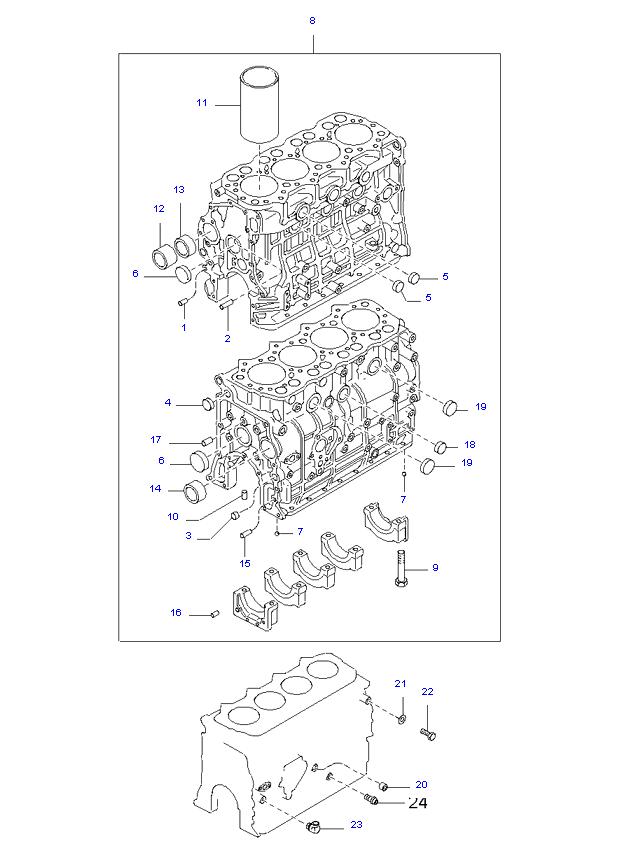 блок цилиндров в сборе ( D4AL(117PS) )