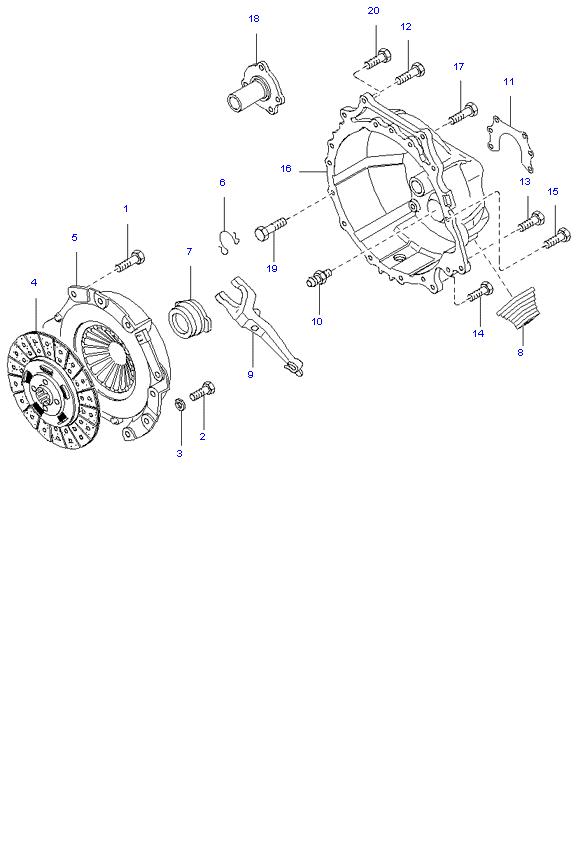 Ведомый диск и механизм сцепления ( D4DA(155PS) )