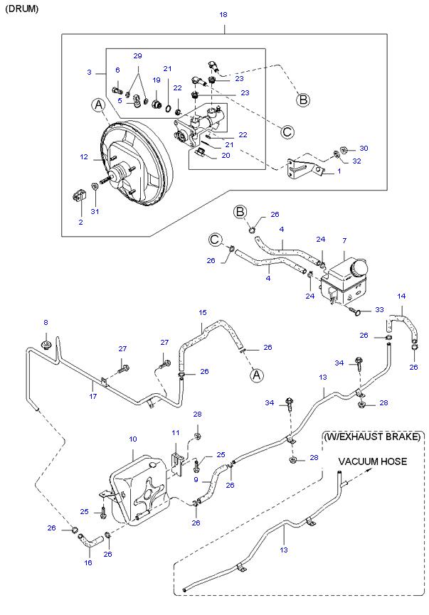 Главный тормозной цилиндр и усилитель тормозов ( SH )
