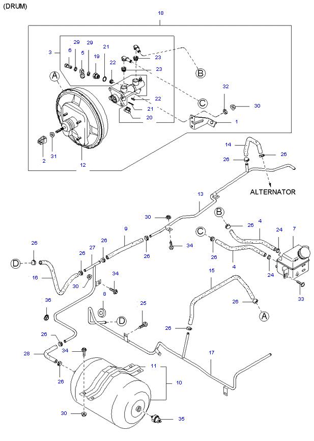 Главный тормозной цилиндр и усилитель тормозов ( D4AL(117PS) )