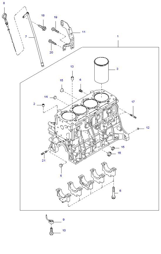 блок цилиндров в сборе ( 2.9L 5MT 2WD )