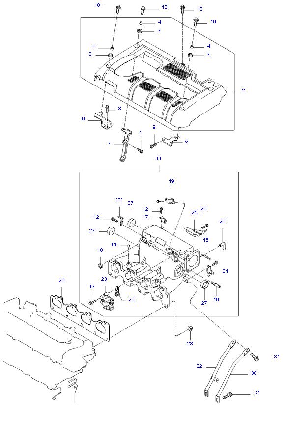 выпускной коллектор двигателя ( 2.0L )