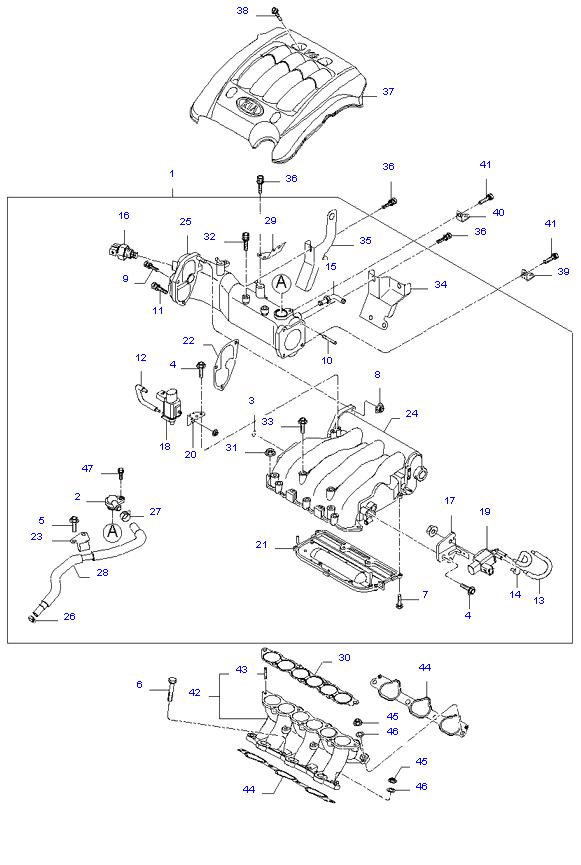 выпускной коллектор двигателя ( 2.7L )