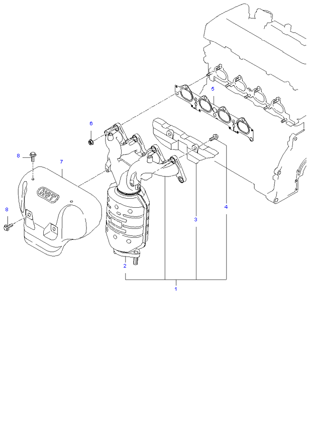 Выпускной коллектор ( 2.0L )