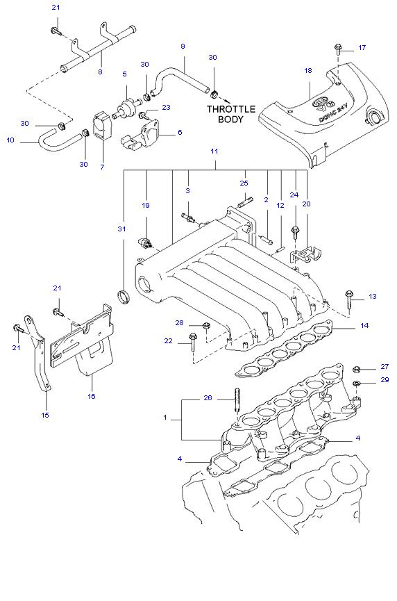 выпускной коллектор двигателя ( 2.5L )