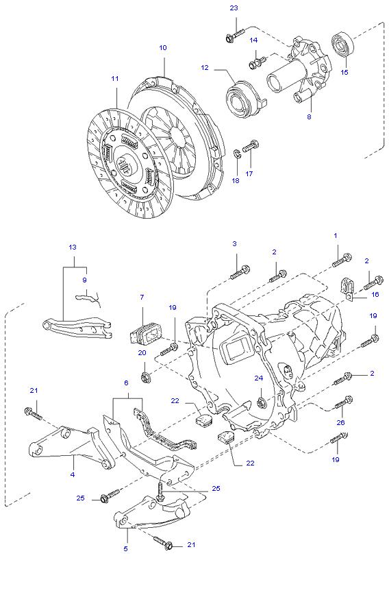 Ведомый диск и механизм сцепления ( 5MT 4WD )