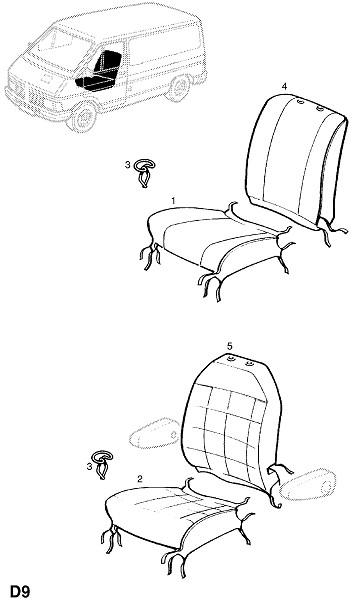Отделка переднего сидения (Внутренняя отделка кузова)