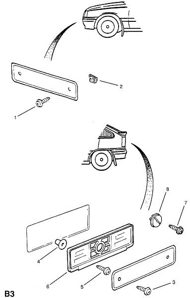 Крепления номерного знака (Внешние приспособления для кузова)