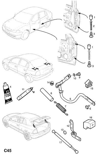 Петля и фитинги двери и крышки багажника (Внутренние приспособления для кузова)