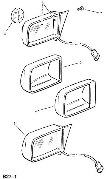 Зеркало заднего вида двери - с электроприводом (Внешние приспособления для кузова)