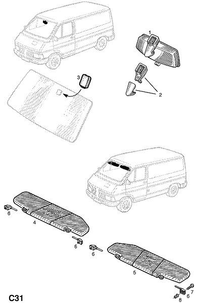 Внутреннее зеркало заднего вида (Внутренние приспособления для кузова)