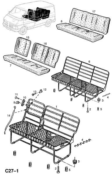 Рама и фитинги заднего сидения (Внутренние приспособления для кузова)