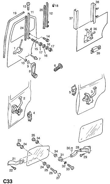 Механизм открытия окна задней двери (Внутренние приспособления для кузова)