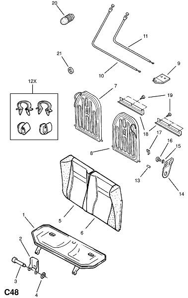 Рама и фитинги заднего сидения - для раздельного сидения (Внутренние приспособления для кузова)