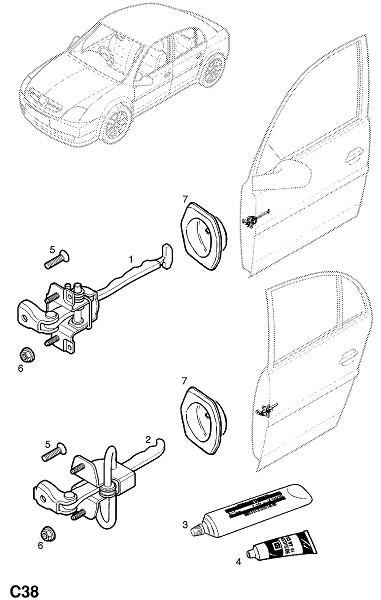 Уплотнение,ограничитель передней двери.  Винт,с потайной головкой,torx,M8 X 25,ограничитель к опоре.