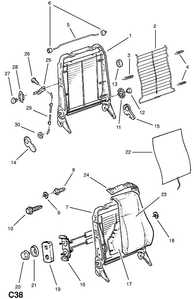 Рама переднего сидения и фитинги - исключая спортивное сидение (Внутренние приспособления для кузова)